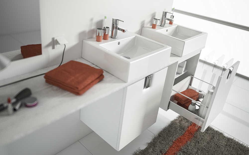Kolumna umywalkowa i szafki pod prysznicem